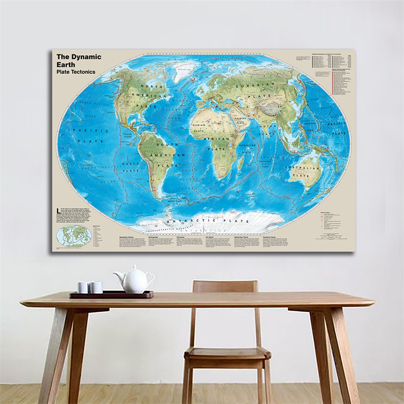 150x100cm Map The Dynamic Earth Plate Tectonics Map With Deadliest Earthquakes Of 20th And 21st Centuries