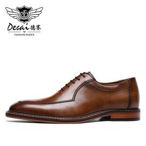 Image 4 - Мужские классические туфли оксфорды Desai, черные вечерние туфли из натуральной кожи в итальянском стиле, в Корейском стиле, 2020