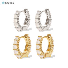 Kikichicc font b 925 b font Sterling Silver Gold 8 5mm Opal Huggies Mini Hoops Circle
