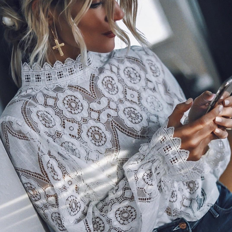 Women Sexy Lace Hollow Out Blouse Office Ladies Long Sleeve Stand Collar Solid Shirt And Tops 2019 Autumn Casual Elegant Blouse