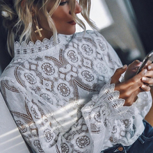 Women Sexy Lace Hollow Out Blouse Office Ladies Long Sleeve Stand Collar Solid