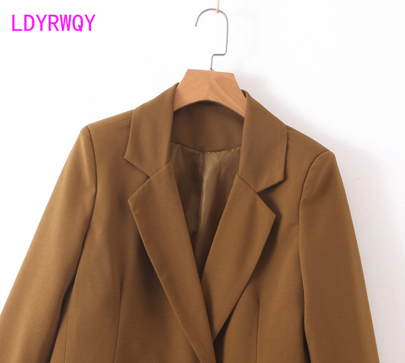 2019 European and American style women's new fashion temperament double-breasted suit jacket female