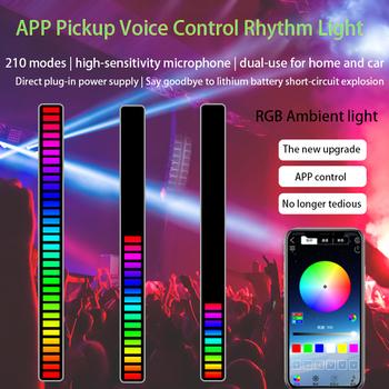 Listwa świetlna LED sterowanie głosem odbiór rytm światła sterowanie głosem samochodu RGB kolorowe nastrojowe oświetlenie Bar oświetlenie dekoracyjne tanie i dobre opinie LiHangStar CN (pochodzenie) ROHS YD204 Z aluminium Nowość Żarówki LED HOLIDAY 1 year