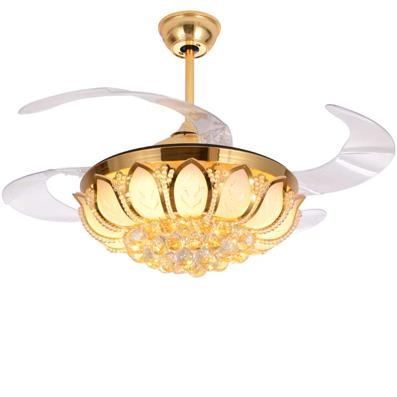 Ambitious Crystal Ceiling Fan Lights Dining Room Bedroom Living Remote Control Fan Lamps Invisible Voltage 110v /220v Fan Lighting Activating Blood Circulation And Strengthening Sinews And Bones