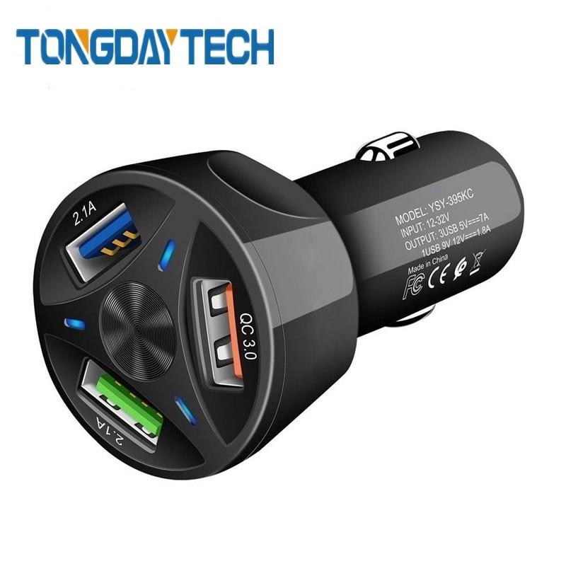 Cargador de coche Tongdaytech Quick Charge 3,0 4,0 Cargador de 3 puertos USB para iPhone X 8 7 11 Cargador rápido de teléfono para Samsung S8 Cargador