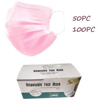 50/100pcs Pink Face Mask Disposable Mouth Face Masks Anti Pollution Dust Mouth Caps 3-Layer Breathing Hygiene Mask In Stock