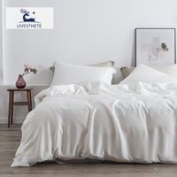 Liv Esthete White Bedding Set 25 Momme 100% Silk Natural Fabric Duvet Cover Flat Sheet Set Home Decoration 4pcs Bedclothes