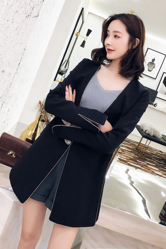 Elegant 2020 Newest Blazer Women Double Breasted Blazers Ladies Black Long Sleeve Suit Jacket Outwear Hot Sale LX2141        S