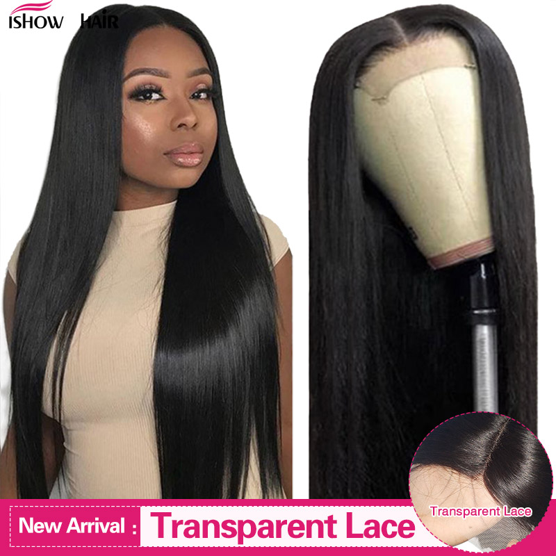 13x4 Lace Front Wig Transparent Lace Wigs Brazilian Straight 4x4 Lace Closure Wig Remy Human Hair Wigs Pre Plucked 150% Density
