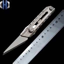Titanium Alloy Utility Knife Seven-speed One-handed Tactics Self-defense Self-help Out Of The Box Cutting Paper EDC Tools