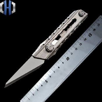 christmas gifts tc4 titanium alloy crowbar edc small tools hanging key chain multi tools self defense for students and traveller Titanium Alloy Utility Knife Seven-speed One-handed Tactics Self-defense Self-help Out Of The Box Cutting Paper EDC Tools