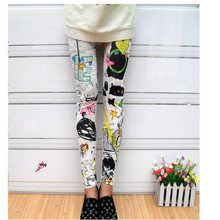 Women Leggings Painting Short Stretch Elastic Ankle-Length Spray Ink Floral Graffiti-Color