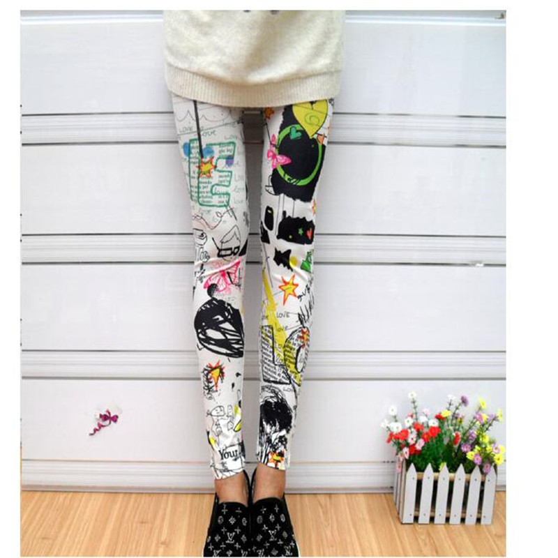 Women Leggings Spray Painting Graffiti Color Ink Elastic Stretch Ankle Length Floral Short Leg Free Size