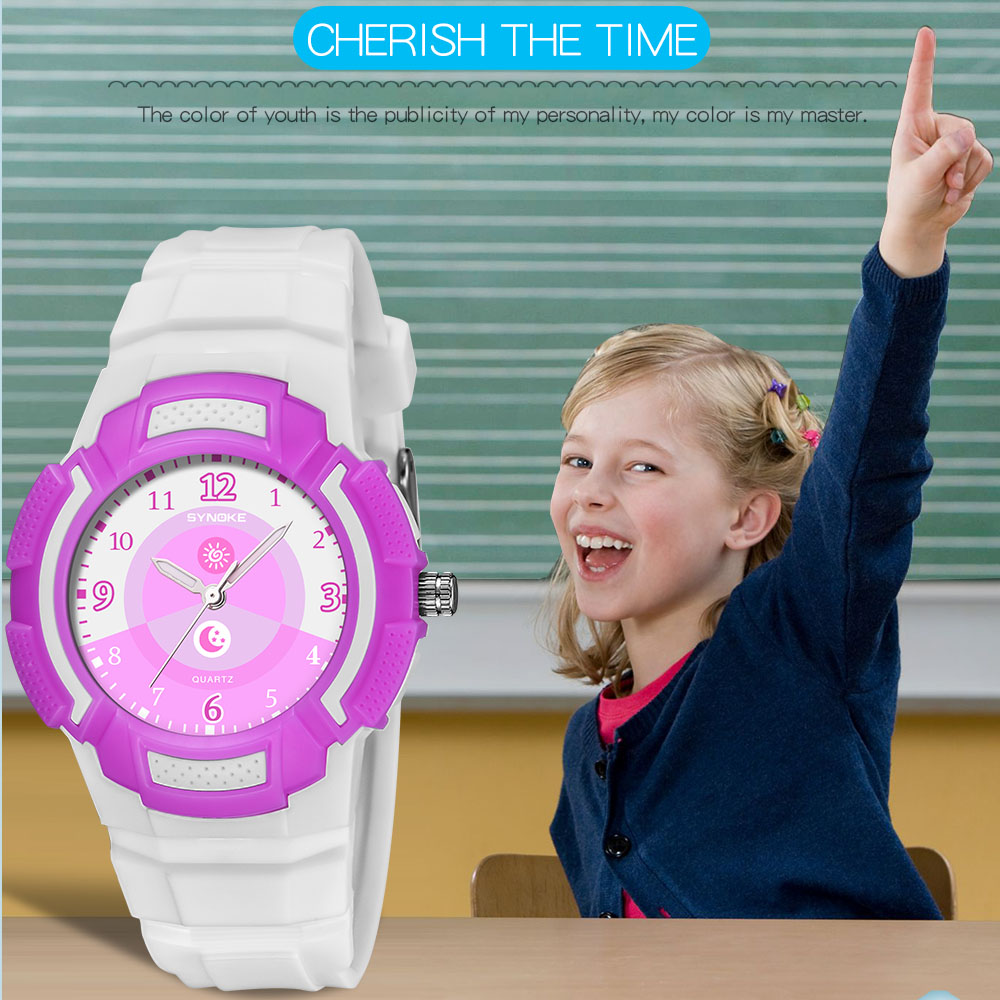 SYNOKE Children Quartz Watches Fashion Cute Waterproof Large Number Dial Kids Birthday Gifts Boys Girls Electronic Watches