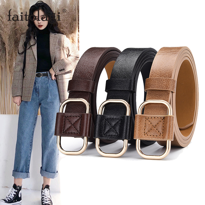 PU Leather Female Belt Strap Black Brown Women Waist Belt Wild Jeans Pants Waistband Cinturones Para Mujer