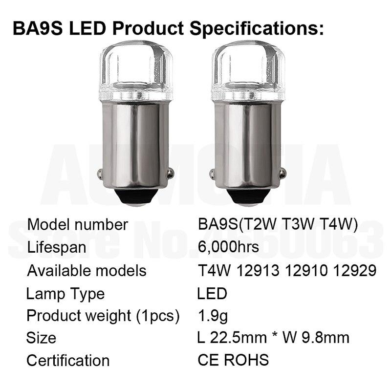 H03ba5c96eb144abe92be4a2d48cd618ab 2x BA9S T4W LED Car light bulb T2W T3W H5W interior Car LED License Plate light 2 LED 2835 SMD DC12V 12913 12910 12929