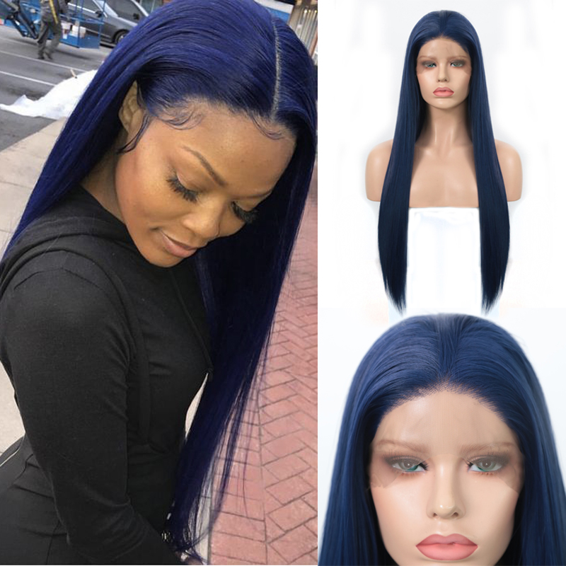 Charisma  Blue Synthetic Lace Front Wig Long Straight Blue Wigs For Women Glueless High Temperature Fiber Hair Wigs