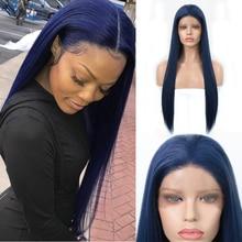 Парик из синтетических волос Charisma Blue, Длинные прямые синие парики для женщин, бесклеевые парики из высокотемпературного волокна