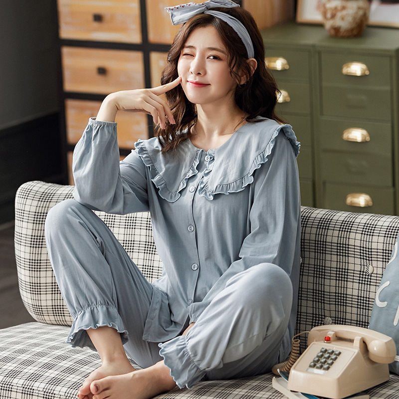 Sping Autumn Women's Sleepwear Pajamas Set Cotton Long Sleeved V-neck Pajamas Home Wear Leisure Clothes Solid Color Nightwear 4
