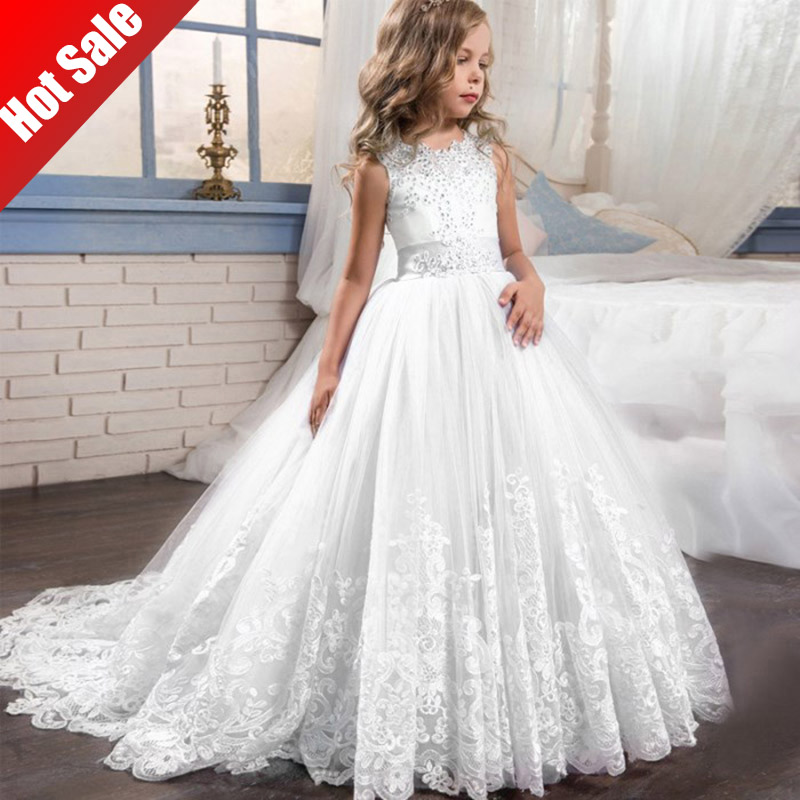 2020 Summer Girl Dress Children Wedding White First Communion Kids Clothes Long Lace Princess Dress  For 3-14 Y Costume Vestido