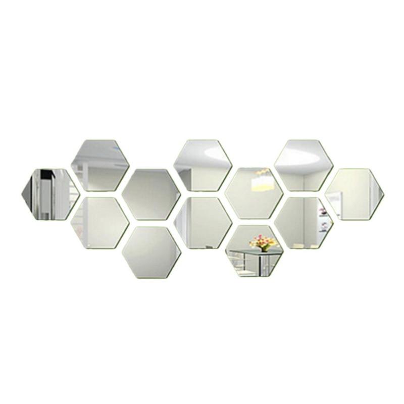 12PCs/Set DIY 3D Mirror Wall Sticker Hexagon Home Decor Mirror Decor Stickers Art Wall Decoration Stickers Multi-color Drop ship 7