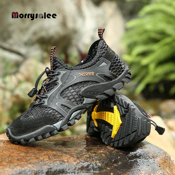 Summer Breathable Men Hiking Shoes  Mesh Outdoor Men Sneakers Climbing Shoes Men Sport Shoes Quick-dry Water Shoes цена 2017