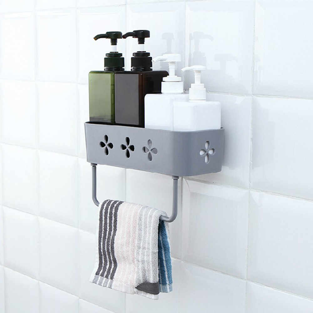 Home bathroom Hollow suction cup holder storage box bathroom wall organizer bathroom storage ecoco family companion #3A27