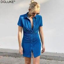 Vestidos de manga curta com franja bodycon para mulher 2021 verão sexy mini vestido azul verde turn-down colarinho botão acima da camisa vestido
