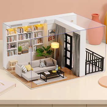 цена на CUTEBEE DIY Doll House Wooden Doll Houses Miniature Dollhouse Furniture Kit with LED Toys for children Christmas Gift QT05