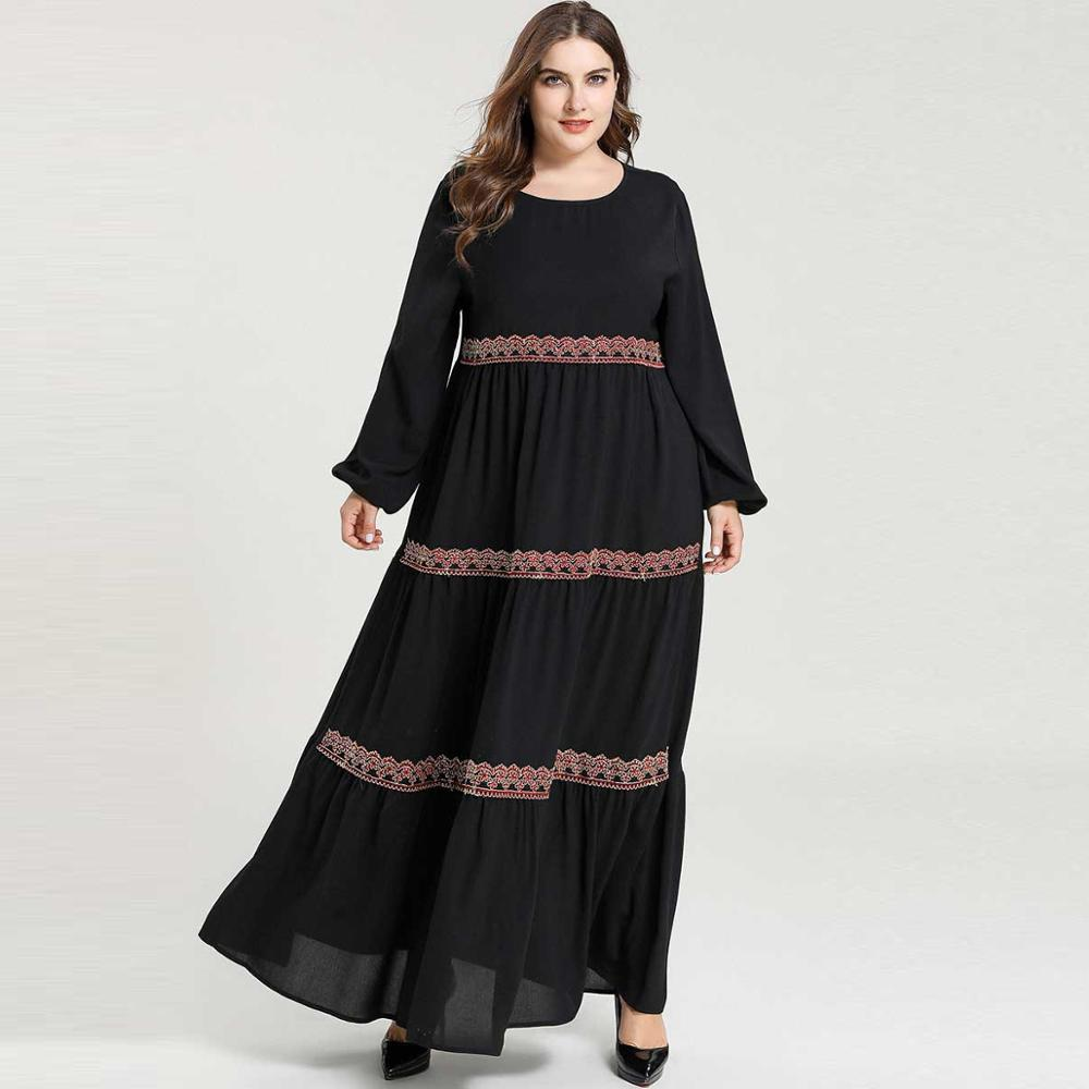 Black Casual Islamic Clothing Women Long Sleeve Embroidery Frilled Muslim Abaya Dubai Kaftan Moroccan Plus Size Maxi Long Dress