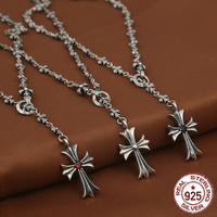 S925 sterling silver men's necklace personality fashion classic punk style cross mosaic stone shape 2018 new gift to send lover