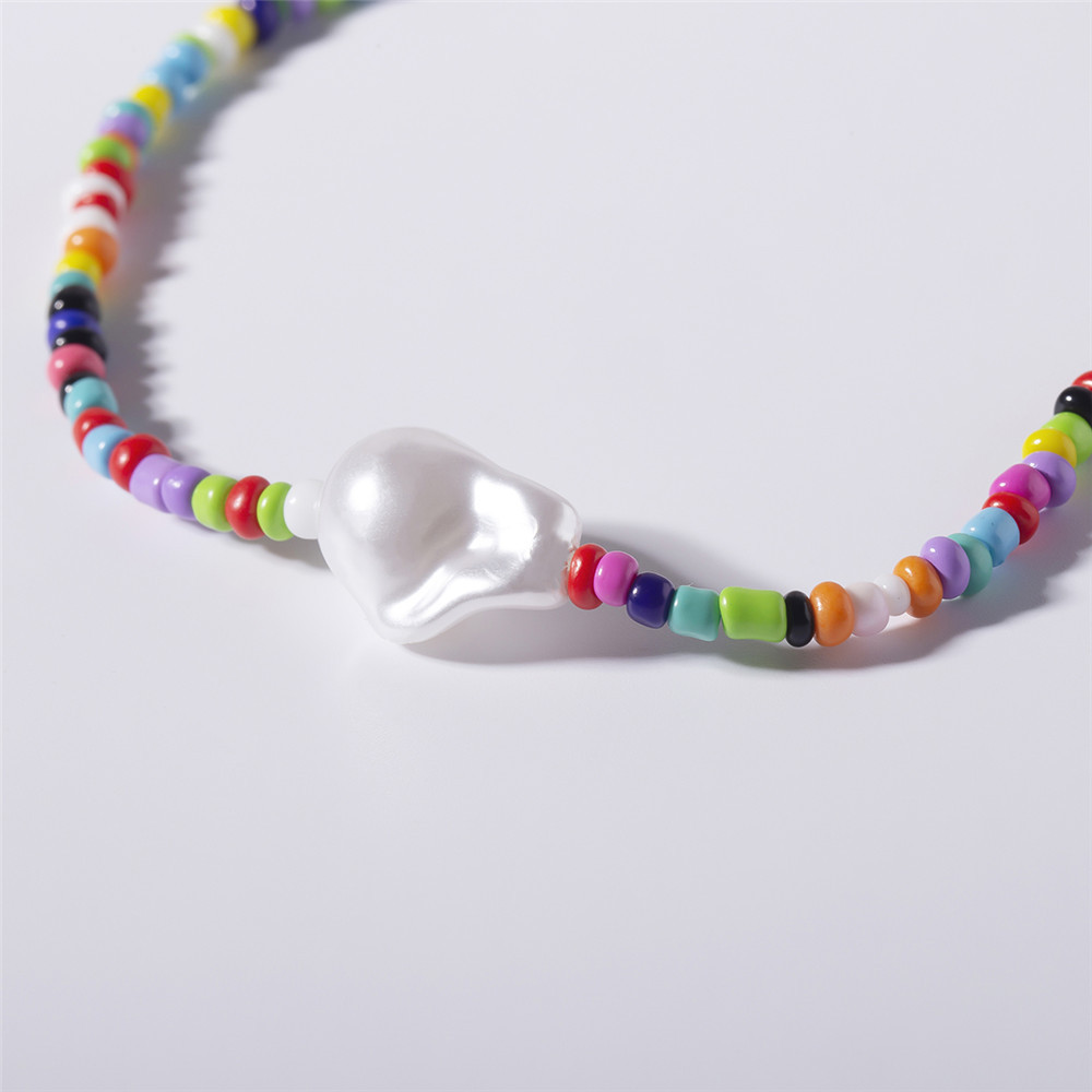6 Colors Bohemian Candy Color Beads Choker Necklace Boho Rainbow Handmade Jewelry Women's Accessories