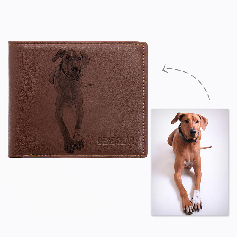 Custom Pet Dog Photo Men Wallet PU Leather Purse Engrave Wish Words Exclusive Dad Short Wallet Best Christmas Gifts For Husband