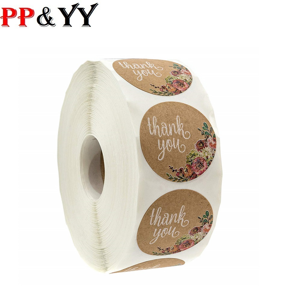 500Pcs/roll Brown Kraft Floral Thank You Stickers For Seal Labes 1inch Handmade Sticker Scrapbooking Cute Stationery Sticker