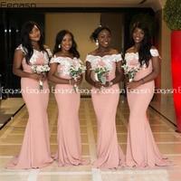 Eeqasn Vestido de festa longo African Mermaid Peach Bridesmaid Dresses Long Lace Appliqued Prom Dresses Formal Party Gown
