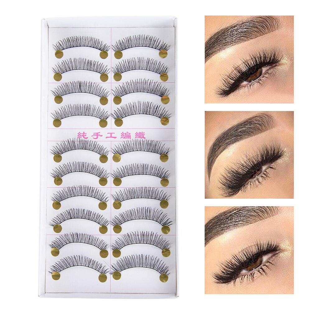 10 Pairs Flase Eyelashes Handmade 3D Fake Eyelashes Reusable Mink Hair Thick Lashes For Natural Look Women Makeup Tools