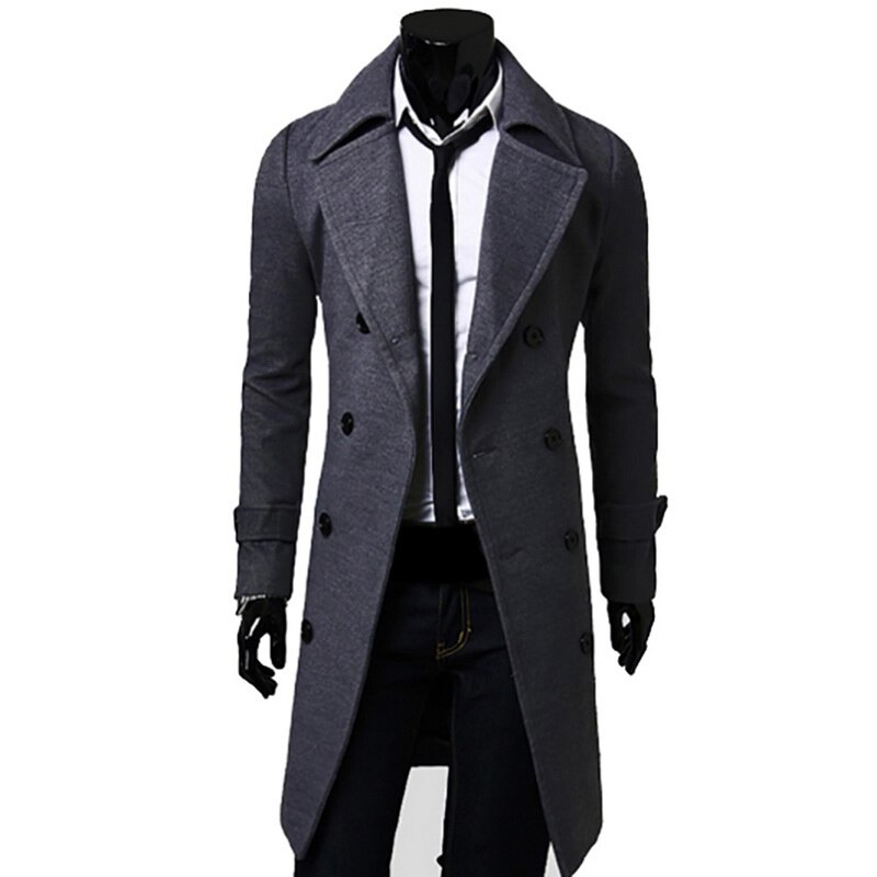 Woolen-Coat Reefer-Jackets Trench Double-Breasted Winter Slim-Fit Casual Warm Parka Collar