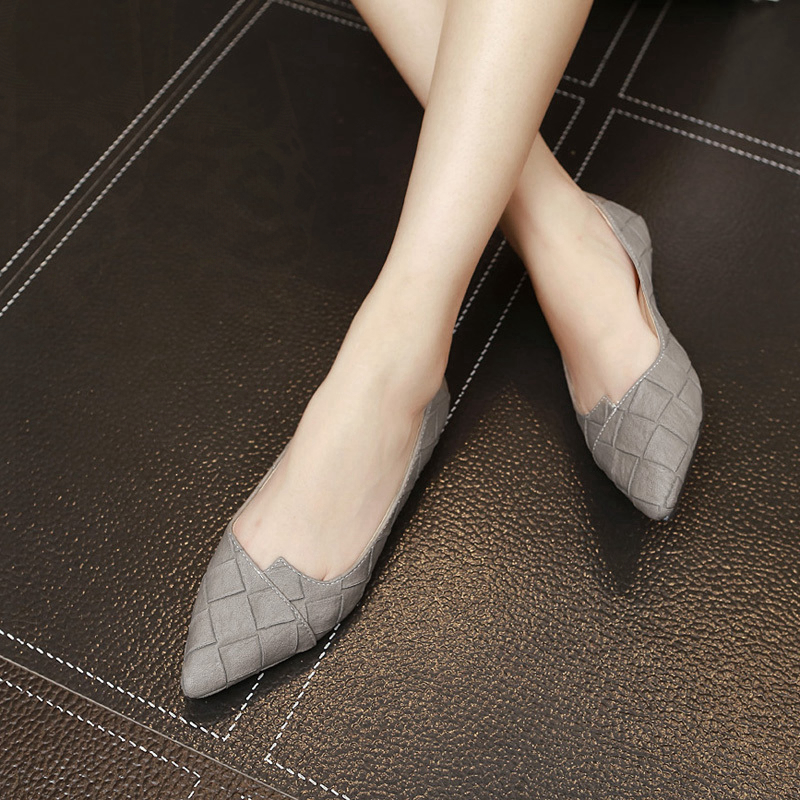 Women Flats Pointed Head Size 31 32 33 Big Size 43 44 45 Solid Color Rhombus Solid Color Diamond Lattice Lady Flat Heel Shoes