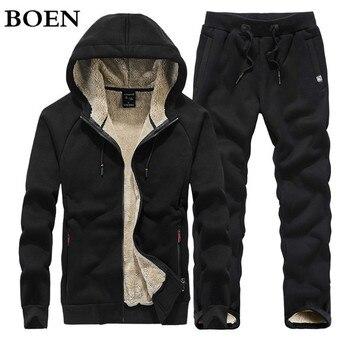 цена на Warm Tracksuit Men Sweat Sets Fleece Winter Thick Sporting Suit Sweatshirt + Sweatpants Hooded Men Clothing 2 Pieces Slim Hoodie