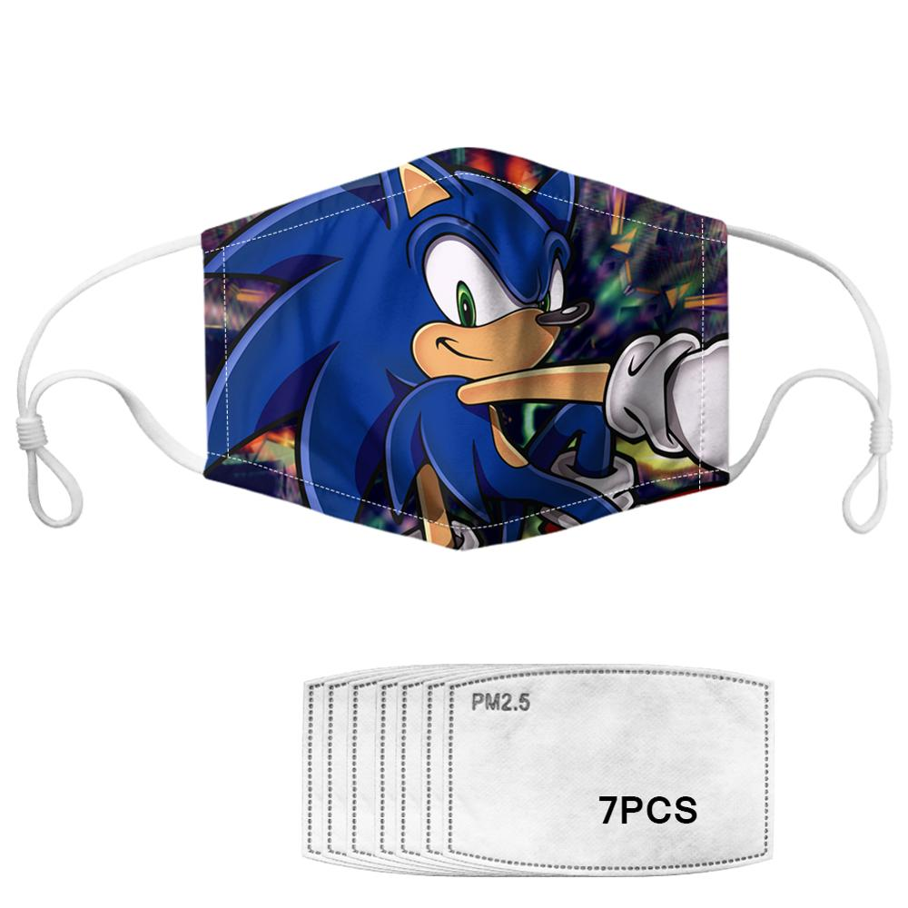 Kids Teens Adults Mouth Masks Sonic The Hedgehog Printed Washable Macka With PM 2.5 Filters Paper Face Cove Mascara