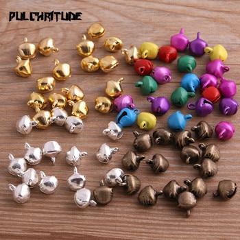 100 Pcs/Lot 6*8mm New Christmas Bells Mix Colors Loose Beads Small Jingle Decoration Gift