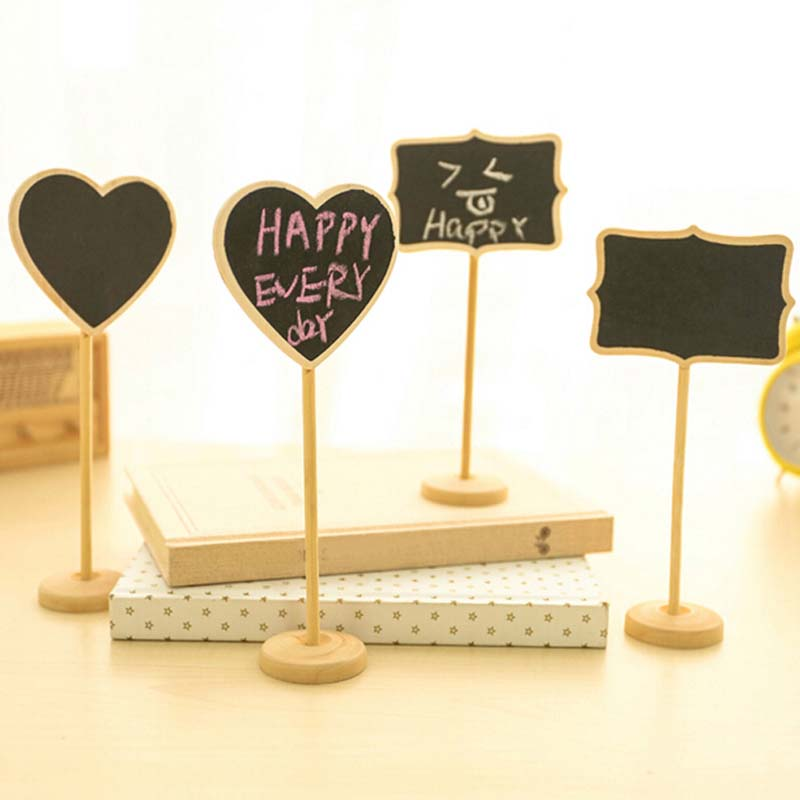 2pcs Mini Table Numbers Wooden Blackboard Wedding Sign Chalkboard Writing Message Kitchen Bar Notice Label
