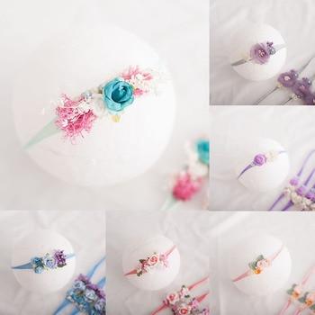 Diadema de flor para bebé fotografía de recién nacido accesorios sombreros de niña bebé Tiara diadema de perlas estudio foto accesorios para el cabello infantil
