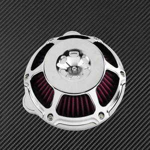 Image 5 - Motocykl chrom filtr powietrza filtr wlotowy filtr CNC dla Harley Sportster XL883 48 Touring Dyna Super Glide ulica Bob Softail