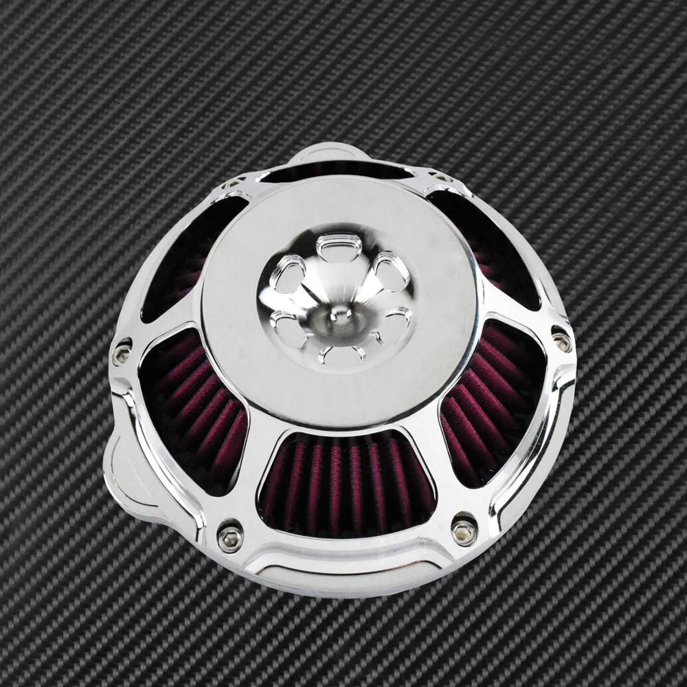 Image 5 - Motorcycle Chrome Air Cleaner Filter Intake Filter CNC For Harley Sportster XL883 48 Touring Dyna Super Glide Street Bob SoftailAir Filters & Systems   -