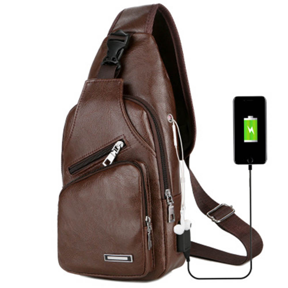 USB Charging Men Chest Bag Fashion School Black Messenger Leather Zipper Shoulder Bags 2019 New Travel School For Men Male Black