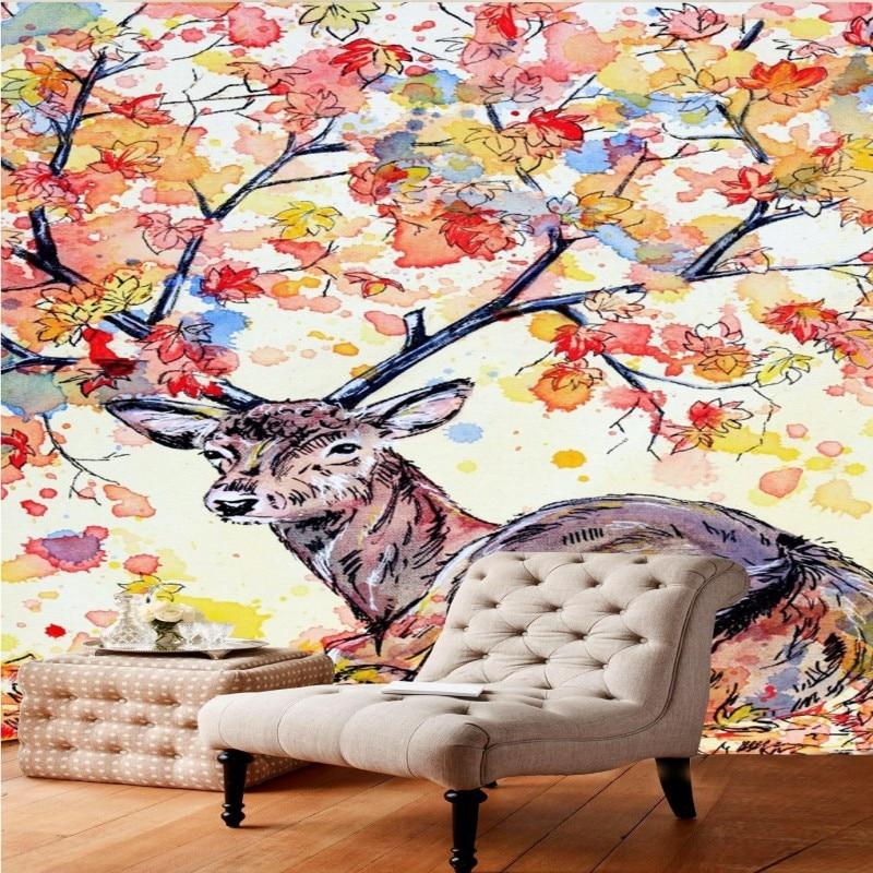 Drop Shipping Custom Photo Wallpaper Hand Painting Sika Deer Entrance Decorative Painting Living Room Bedroom Wallpaper Mural