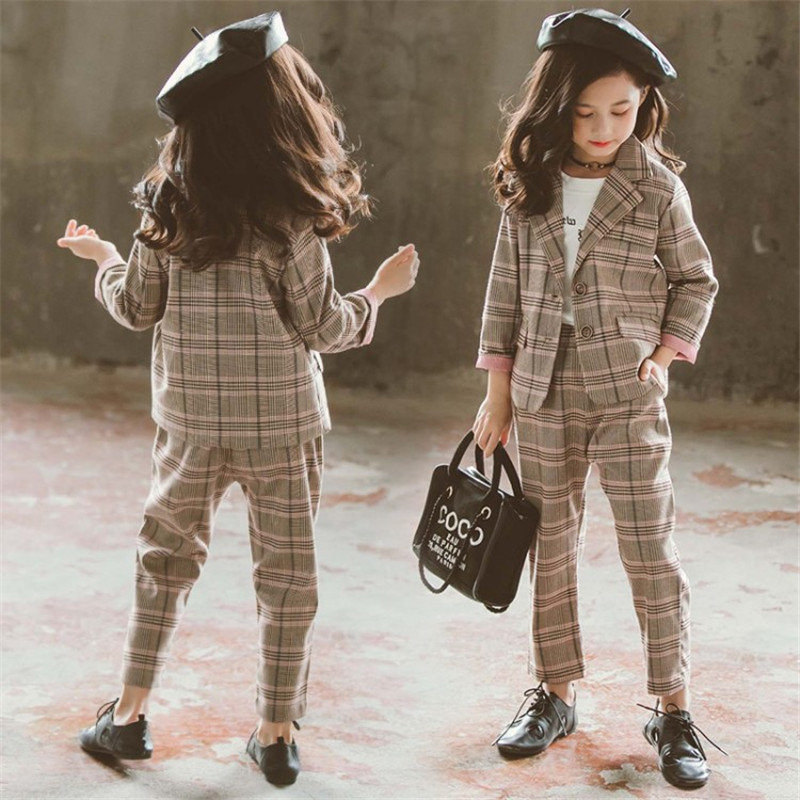 Children Girls Clothing Set Autumn Teenage Girls Suit Plaid Jacket Pants 2pcs School Kids Tracksuit For Girls Formal Clothes
