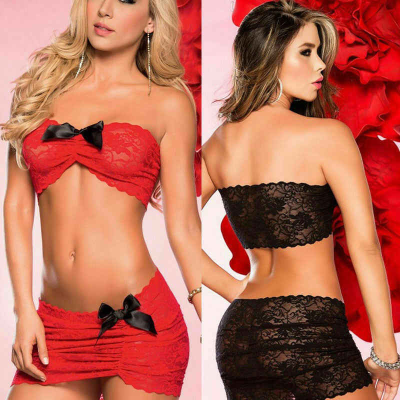Womens 2pcs Sexy Ladies Lingerie Dress Floral Sleepwear Bra+G-string Nightwear Underwear Babydoll Bikini Cover Up Beach Dress