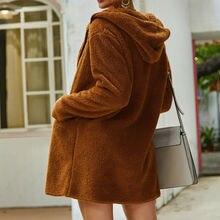 Зимнее теплое Женское пальто с длинным рукавом из искусственного меха, пушистое пальто с капюшоном, Повседневная Свободная куртка на молнии с капюшоном, верхняя одежда размера плюс